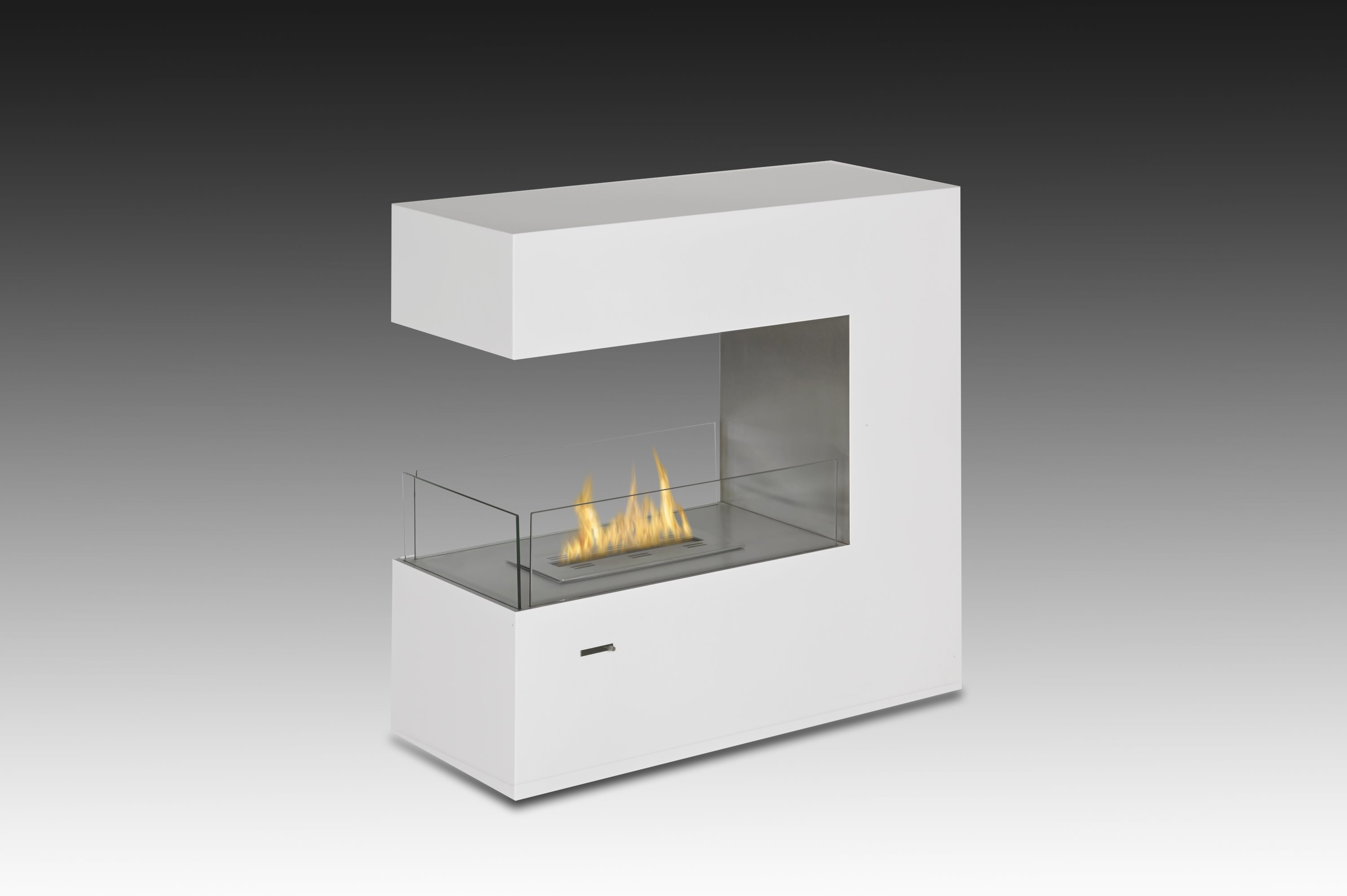 pin fireplace ecosmart fire complement electric white monochrome a with and surround sleek chrome living